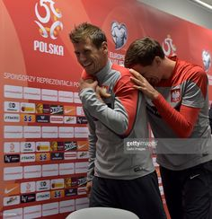 Grzegorz Krychowiak and Wojciech Szczesny during the Poland national soccer team press conference at the National Stadium on October 2014 in Warsaw, Poland. National Stadium, Warsaw Poland, October 10, Super Sport, Conference, Euro, Soccer, Football, Train