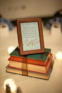 Vintage Centerpieces | Vintage School, Library, Old Books Theme O-book-quote-centerpieces – DIY Weddings and Events