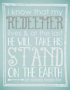 Scripture Art Printable, Job 19:25, My Redeemer Lives