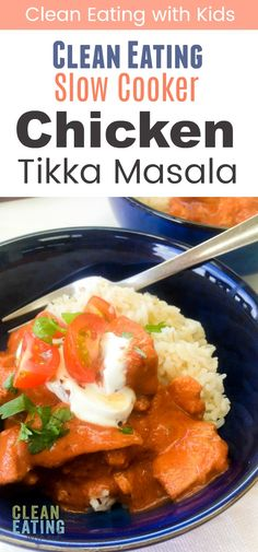 Clean Eating Chicken Tikka Masala An amazing, clean eating spin on a classic Indian Curry. Mild enough for the kids to enjoy too. Mexican Food Recipes, Real Food Recipes, Chicken Recipes, Healthy Recipes, Salmon Recipes, Clean Recipes, Healthy Meals, Cooking Recipes, Clean Eating Slow Cooker Recipe
