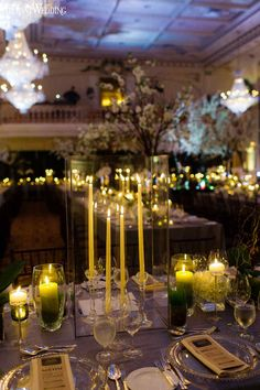 Enchanted gold and green wedding flowers, candles and decor for a gay wedding! ENCHANTED GARDEN WEDDING AT THE CHÂTEAU FRONTENAC www.elegantwedding.ca