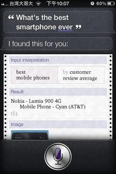Siri says the best smartphone is Nokia Lumia 900