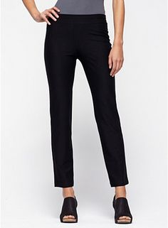 slim ankle pant in stretch crepe