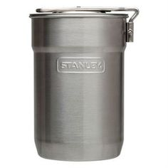 Stanley Camp Cook Set, Stainless Steel Features: - 2 Nesting 10oz/295mL insulated cups included - 18/8 stainless steel won't rust; naturally BPA free - Locking handle extends for cooking, folds to save space - Vented lid lets you cook on camp stoves or grills - Dishwasher safe - Single Wall