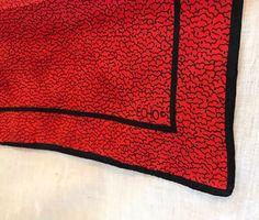 "Vintage 1980s ECHO Red Black Framed Modern Print Scarf 17x17"" Made in Japan  | eBay"