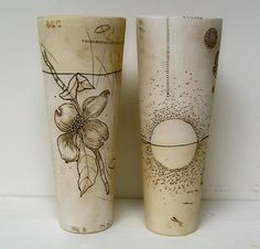 diana fayt - porcelain cylinders w delicate drawings