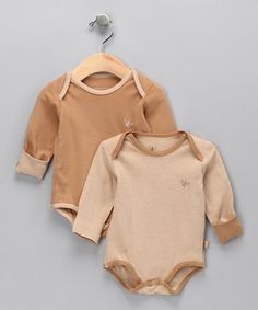 Take a look at this B nature Wheat & Chestnut Organic Bodysuit Set - Infant by Growing Up Green: Infant & Toddler on #zulily today!