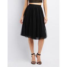 Charlotte Russe Tulle Full Midi Skirt ($16) ❤ liked on Polyvore featuring skirts, black, knee length tulle skirt, layered tulle skirt, high waisted midi skirt, high waisted skirts and high-waisted midi skirts