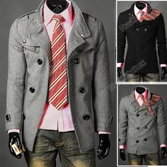 Men's Slim Casual Double Breasted PEA Trench Hot Stylish Woolen Coat Outerwear