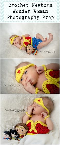 Crochet Newborn Wonder Woman Photography Prop On Etsy!  Check out Twin Hill Photography on Facebook! Photographer & crochet photography props for clients!  #twinhillphotography #photography #Wonderwoman #Crochetwonderwoman #crochetnewborn #photographyprop #Newbornsessionidea #Wonderwoman #crochet #Dccharacters #newborn #ideas #session #familyportraits #newbornsession #Superhero #superheroportraitsession #Hero