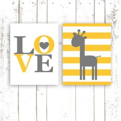 Nursery Print Pair Love Typography and by MooseberryPaperCo