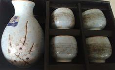 BLUE MOON JAPAN 5 Piece Sake Set Stoneware Spring Blossom NEW