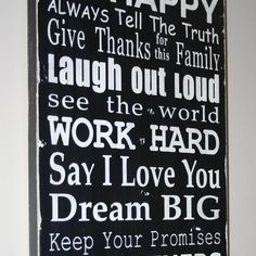 Family Rules Sign - hanging in my kitchen and I *love* it! {from Barn Own Primitives on Etsy} @barnowlprimitives
