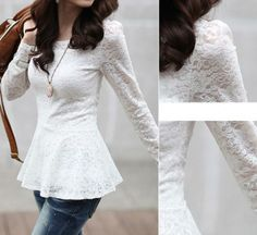 Gorgeous Ladylike Two Pieces Set Lace Flower Long Sleeve Camis & Blouse White Blouses Cheap Womens Tops, Peplum Shirts, Lace Peplum, Winter Fashion, Dress Up, Clothes For Women, My Style, Womens Fashion, Outfits