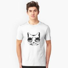 'Goggle Cat' T-Shirt by SchoomDesigns Funny Graphic Tees, Tshirt Colors, Funny Tshirts, Classic T Shirts, Shirt Designs, Cats, Mens Tops, Cotton, Fashion