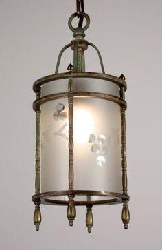 Amazing Antique Brass Lantern with Wheel-Cut Glass Cylinder, Grape Design - c1930s. $275 on GoAntiques