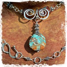 Southwestern sterling necklace - Turquoise pendant necklace - Boho chic necklace - Sterling silver artisan necklace - Gift for her by rocksandpaperswans