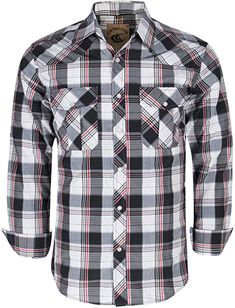 94ad0d37 Coevals Club Men's Snap Button Down Plaid Long Sleeve Work Casual Shirt ( Black & Red #18, S) at Amazon Men's Clothing store: