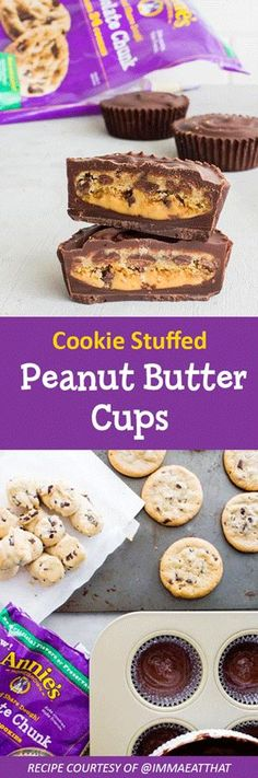 Upgrade your peanut butter cups by adding a chocolate chunk cookie to the center. Bake Annie's Organic Chocolate Chunk Dough as directed and set aside to cool. Line muffin tin with 12 cupcake lines. Melt 2 cups of dark chocolate chips. Layer the bottom of each muffin tin with melted chocolate. Add 1-2 tsp of peanut butter and a cookie to each tin. Drizzle melted chocolate over cookies (until covered). Chill for 1 hour.