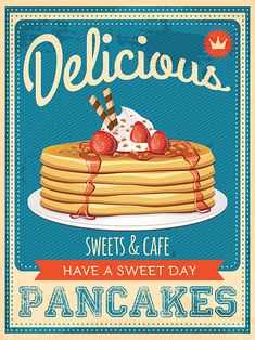 Illustration of vector vintage styled pancakes poster vector art, clipart and stock vectors. Vintage Diner, Retro Diner, Vintage Ads, Vintage Signs, 1950s Diner, Vintage Advertisements, Vintage Images, Vintage Kitchen, Vintage Food Posters
