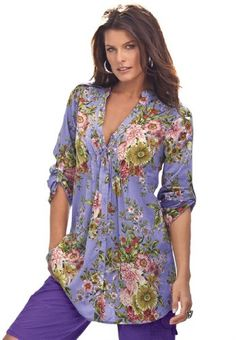 Roamans Women's Plus Size English Floral Bigshirt (Purple Lily) Roamans,http://www.amazon.com
