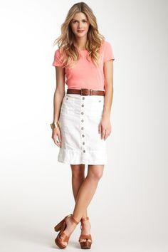 Michael Stars Linen Button Front Skirt