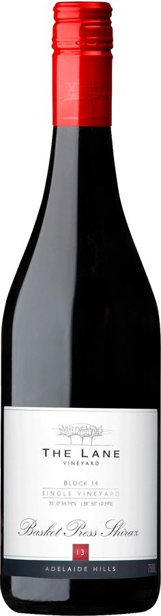 The Lane Block 14 Basket Press Shiraz 2013 Gentle on the palate with soft silky tanins Single vineyard Excellence. This wine shows a true sense of place 95 points - James Halliday Australian Shiraz, Wines, Red Wine, Vineyard, Alcoholic Drinks, How To Memorize Things, Basket, The Unit, South Australia
