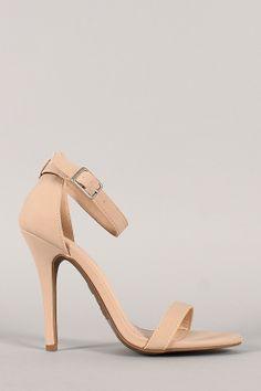 Anne Michelle Enzo-01 Nubuck Open Toe Stiletto Heel