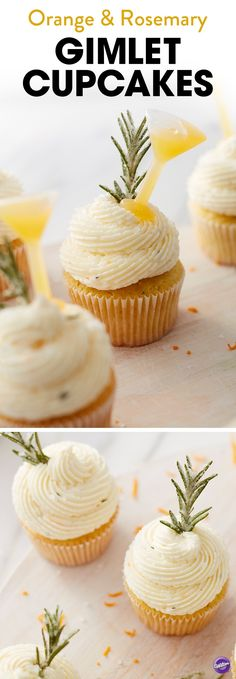 Orange and Rosemary Gimlet Cupcake Recipe - A sweet orange cake is spiked with a little gin, then topped with a sweet and savory icing that is just as tasty as it is beautiful. Garnish your cupcakes with a few sprigs of fresh rosemary and a Shot Top filled with a mixture of orange juice and gin. Squeeze the Shot Top before taking a bite for a last-minute infusion of flavor! These tasty cupcakes would be a lovely addition to any celebration including Christmas or New Year's party.