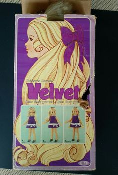 This is an original vintage Chrissy's cousin Velvet doll. Made in 1970 by Ideal, there's a dial on her back that makes her hair longer and shorter. The dial still works great. There is some light damage to the box and she does not have any clothes. She only has one purple shoe. There's a light dirt mark on her face.   eBay!