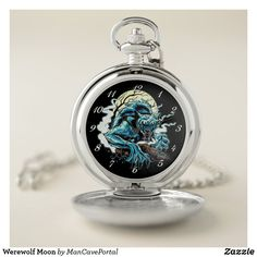 Werewolf Moon Pocket Watch Personalized Pocket Watch, Personal Shopping, Make A Gift, Werewolf, Cool Watches, Apple Watch, Colorful Backgrounds, Monochrome, Pocket Watches