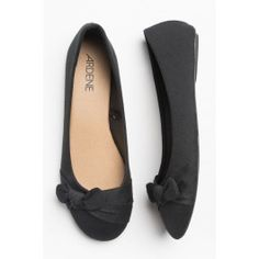 Black fabric flats with bows