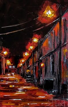 "Contemporary Artists of Texas: Cityscape Street Scene painting Alley paintings texture art 'Red Alley"" by Debra Hurd"