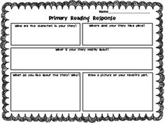 Primary Reading Response template
