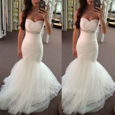 Fascinating Mermaid/Trumpet Sweetheart Neckline Empire Waist Tulle Wedding Dress Bridal Dress