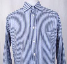 Canali Dress Shirt XL 17.5 - 44 Blue Purple Striped Spread Collar Cotton A53