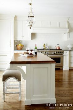 Kitchen Island Countertop. Kitchen island countertop ideas. The countertop on this island is teak. Teak Butcher's block countertop. #ButchersBlock #ButchersBlockIdeas #TeakButchersBlock