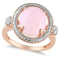 Allurez Round Pink Opal Ring w/ Diamond Side Stones Sterling Silver... found on Polyvore