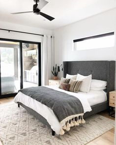 A modern take on traditional, this eye-catching grey tufted headboard is the sta. - A modern take on traditional, this eye-catching grey tufted headboard is the star of the show. Cozy Bedroom, White Bedroom, Home Decor Bedroom, Bedroom Romantic, Bedroom Curtains, Bedroom Green, Budget Bedroom, Bedroom Plants, Bedroom Small