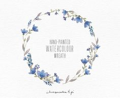 Watercolor wreath: hand painted floral wreath clipart / Wedding invitation clip art / commercial use / Indigo blossom / CM0063b