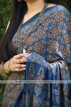 Handblock Printed Ajrakh Modal Silk Saree by Dvija Satin Saree, Tussar Silk Saree, Chiffon Saree, Ajrakh Prints, Cotton Saree Blouse Designs, Bridal Dupatta, Formal Saree, Block Print Saree, Stylish Sarees