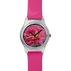 Add Your Text, Custom Watch PINK and FUN - This fun watch can be customized as you wish. You can make the text say whatever you want (I Love You would be great for Valentine's Day, hint, hint!). Customize watch bands, keeper strap, hands, lots of options - Wow! Customize to your heart's content! You will be the designer! Or keep my pink design to match the pink rose on the watch face. All Rights Reserved © 2013 A&M Socolik. #Pink #Rose #Roses #ValentinesDay #Valentine #Love #Romance…