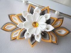 Handmade Kanzashi fabric flower grosgrain ribbon french barrette - hair…