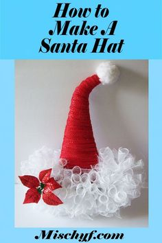 How to turn a Halloween witch hat frame into a Santa hat wreath for Christmas. https://mischyf.com/santa-hat-wreath/