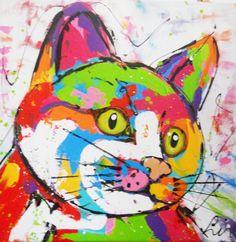 vrolijke poes - www.vrolijkschilderij.nl