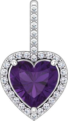14kt White Gold Halo-Styled Heart Drop Pendant. Find it at a jeweler near you: http://stuller.com/locateajeweler/ #StullerValentine #MrParticular
