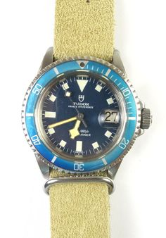 Vintage Rolex Tudor Oyster Prince Blue/Blue Stainless Submariner from arnoldjewelers on Ruby Lane..