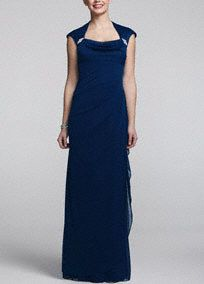 Make an elegant statement no one will forget in this magnificent long jersey dress!  On trend cap sleeve bodice features stunning crystal detail.  Long jersey dress with side ruching helps create a flattering silhouette and adds movement.  Fully lined. Back zip. Imported polyester. Dry clean. Available in Plus sizes as Style XS3434W.