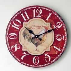 Find More Wall Clocks Information about 2016 New  Arrival Wall Clock Red Home Furnishing Painted Rooster Wood Wall Clock Grocery Office Fashion Pendant 0002A5,High Quality clock mp3,China pendant phone Suppliers, Cheap clock sticker from agreetao on Aliexpress.com