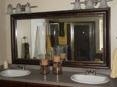 What a great idea for your old bathroom mirror  www.reflecteddesign.com has tons of ideas